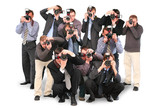 many photographers paparazzi double twelve group with cameras poster