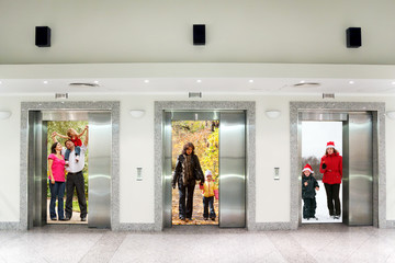 summer autumn winter family in elevator doors, collage