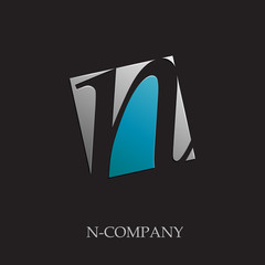Logo initial letter N on black background # Vector