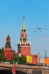 Airplanes fly over Red Square