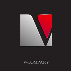 Logo initial letter V on black background # Vector