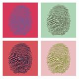 Four fingerprints in popart style illustration poster