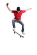 Young active skateboarder jumping