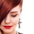 attractive red hair woman close up style portrait