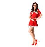 happy smiling woman in red xmas sexy costume isolated