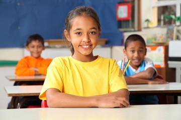 Primary school children sitting to desks in class