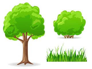 Set of cartoon green plants. Tree, bush, grass.
