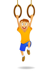 Happy cartoon boy hanging on gymnastic rings