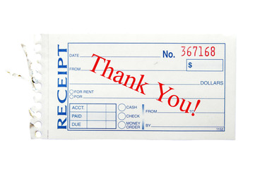 "paper receipt with ""thank you"" text"