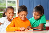 Primary school children in class reading learning