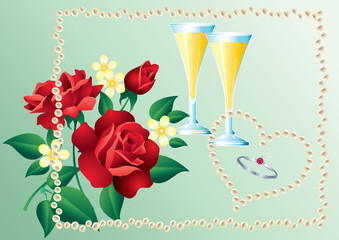 Ring, glasses of champagne and a bouquet of flowers.