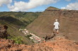 Hiker on trail above Jamestown St Helena Island