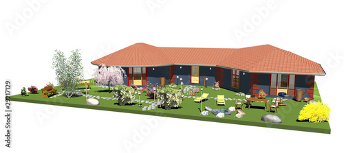 Casa Blu con Giardino-Blue House with Garden-3D