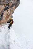 Dangerous pitch during an extreme winter climbing