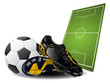 Soccer boots, ball and sport-field