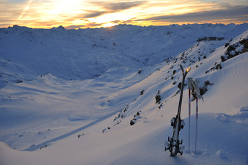 mountain snow ski sunset
