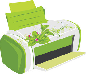 Printer with spring bouquet. Vector