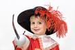 Boy with carnival costume . Little fighting musketeer.