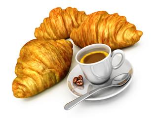 Colazione: caffè e croissant