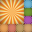 Sunburst colorful backgrounds in different color schemes