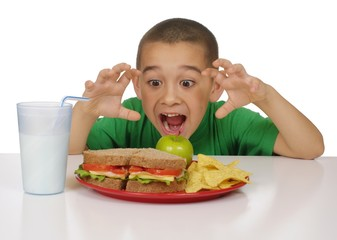 Kid ready to eat a sandwich meal