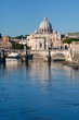 view on Tiber and St Peter Basilica, Rome, Italy