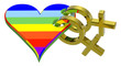 Gold sex symbol linked with rainbow heart