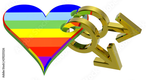 Gold gay sex symbol linked with rainbow heart