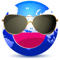 world with sunglasses