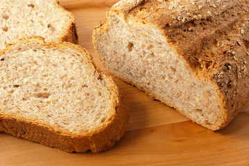 Sliced cereal bread closeup