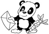 Panda and Letter - Black and White Cartoon illustration