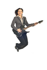 Executive woman jumping with guitar