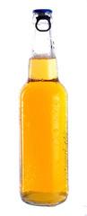 transparent bottle with a light beer