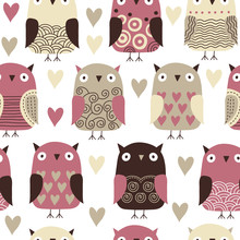 seamless pattern with owl