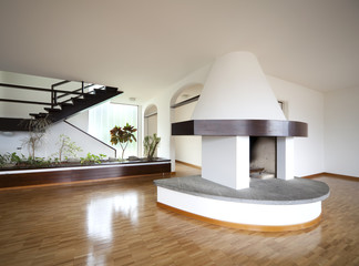 interior modern home , fireplace