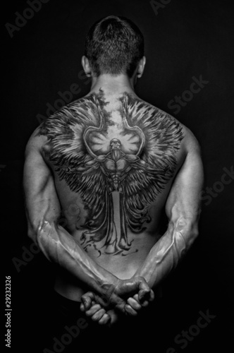 Moael with angel tattoo - 29232326