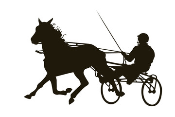 Harness racing black silhouette on white
