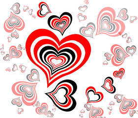 Valentines Day black-red background with Hearts