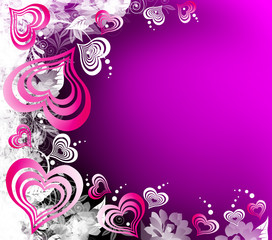 Valentines Day black-pink-violet background with Hearts