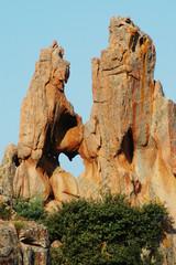 Rocks showing heart shaped hole, Les Calanques, Corsica