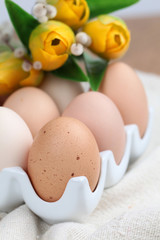 Brown chicken eggs and tulips