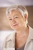 Portrait of female pensioner poster