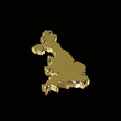 map of uk in 3d gold