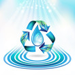 Ecology icon with drop and dolphins, recycle water