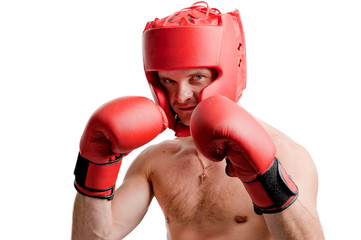 Professional boxer stance isolated on white background