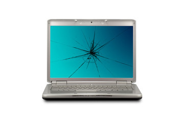 Computer with damaged  screen. Isolated on white background