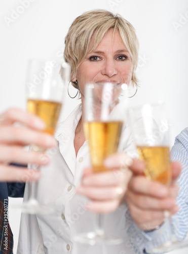 Business woman toasting