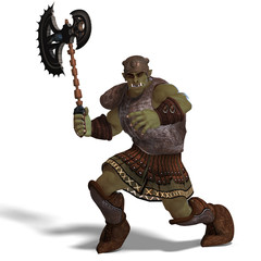 Male Fantasy Orc Barbarian with Giant Axe. 3D rendering with