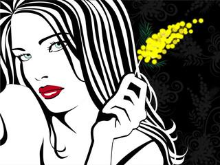 Donna con mimosa sfondo nero