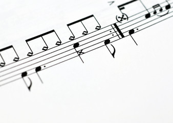 Close up of music notes